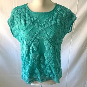 Romeo & Juliet teal embroidered top